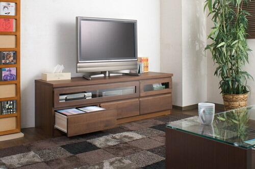 木製テレビ台 ≪アルダー材テレビボード 150.5cm幅≫ ダークブラウンタイプの画像