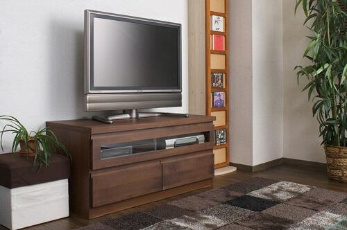 木製テレビ台 ≪アルダー材テレビボード 101cm幅≫ ダークブラウンタイプの画像