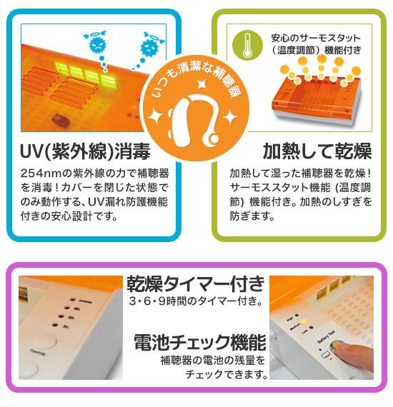 補聴器用 乾燥 UV消毒器