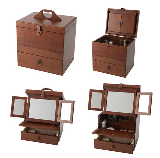 シンプルな 三面鏡付きコスメボックス ブラウン(茶色)