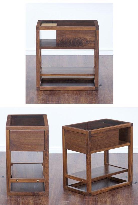 木製ガラステーブル収納付き