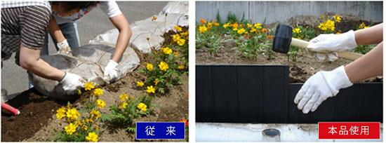 花木スペースの囲いに土留めワイド