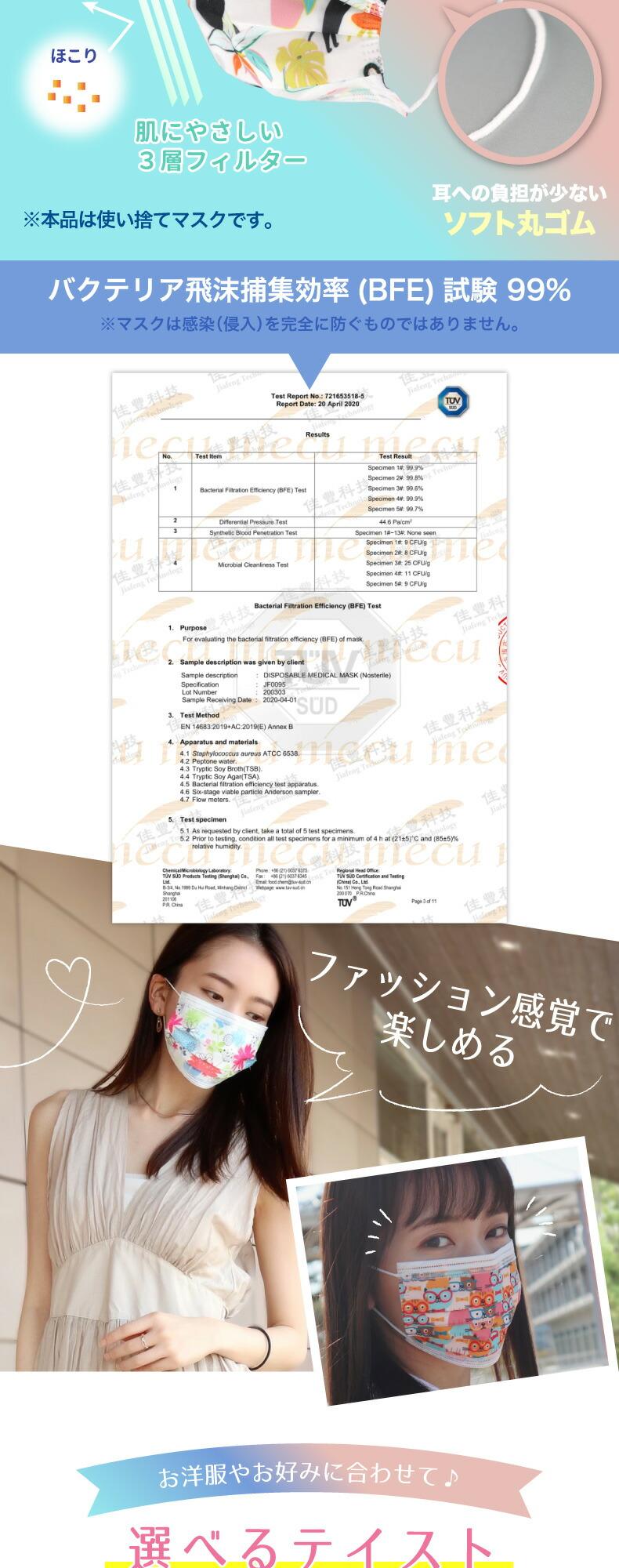 柄マスク 不織布マスク 5枚入×4袋セット 20枚 3層構造 ウイルス対策 使い捨てマスク 大人用 ファッションマスク おしゃれ