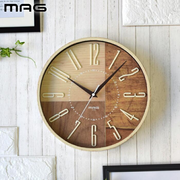 MAG 電波掛時計 ココア