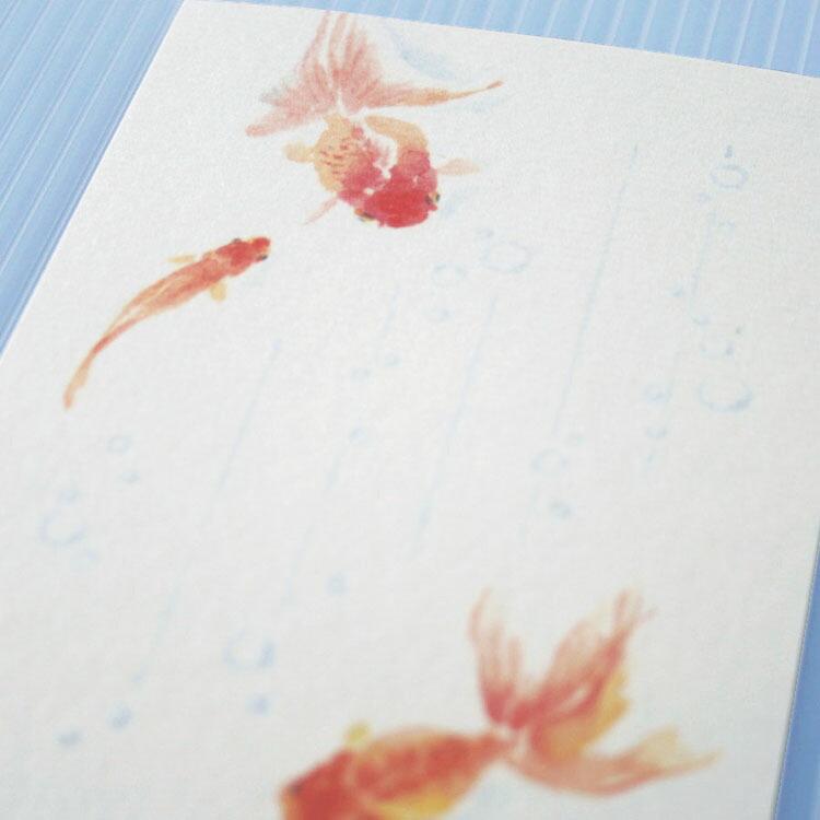 季節のはがき金魚とあぶく