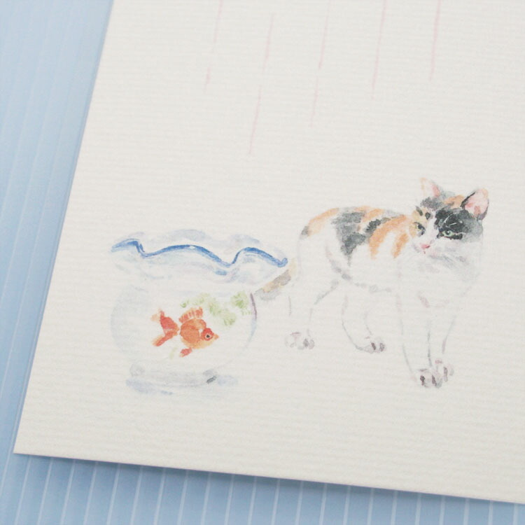 季節のはがき猫と金魚鉢