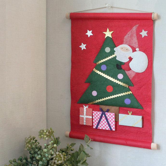 季題掛け軸サンタからのプレゼント赤