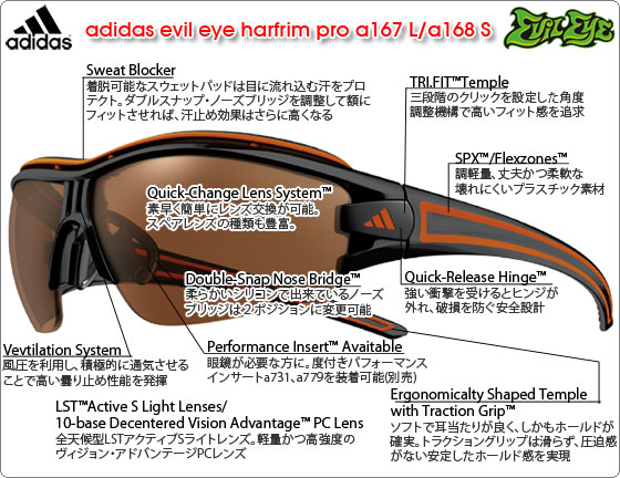 adidas evil eye harfrim pro a167 L/a168 Sの特徴