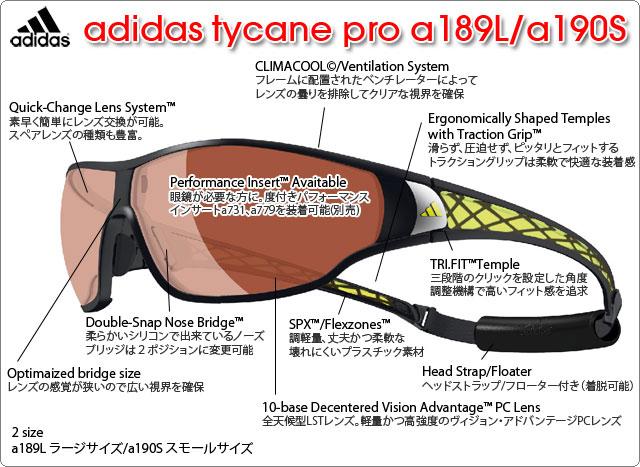adidas スポーツサングラス tycane a189L/a190S