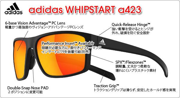 adidas スポーツサングラス WHIPSTART a423の特徴
