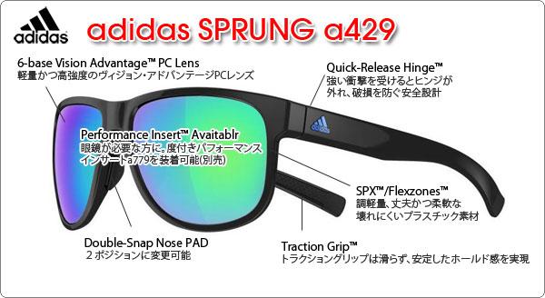 adidas スポーツサングラス SPRUNG a429の特徴