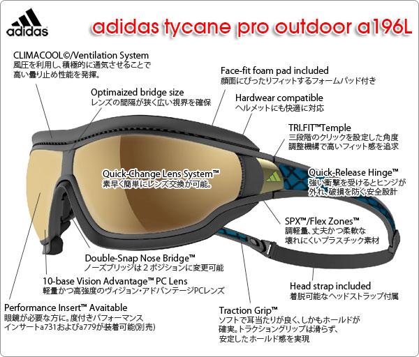 adidas スポーツサングラス tycane pro outdoor a196Lの特徴