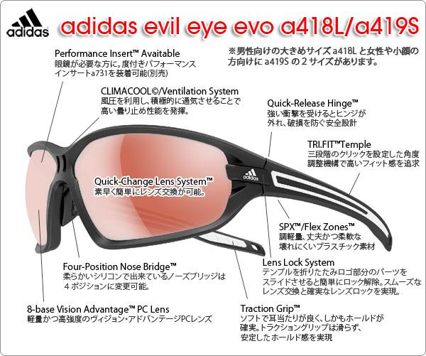 adidas スポーツサングラス evil eye evo a418L/a419Sの特徴