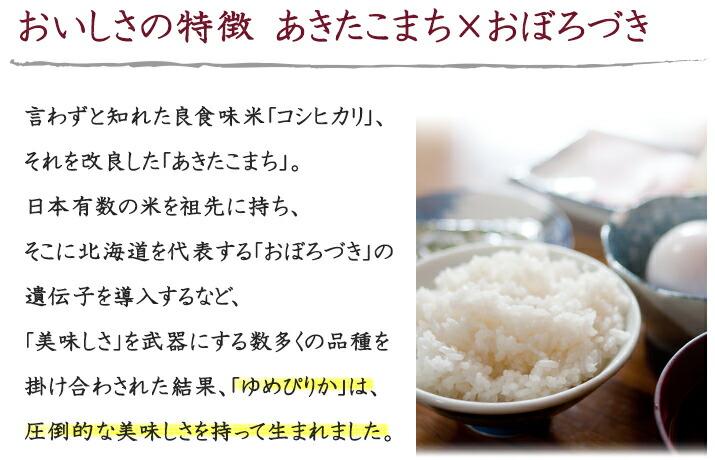 おいしさの特徴 あきたこまち×おぼろづき 言わずと知れた良食味米「コシヒカリ」、 それを改良した「あきたこまち」。 日本有数の米を祖先に持ち、 そこに北海道を代表する「おぼろづき」の遺伝子を導入するなど、「美味しさ」を武器にする数多くの品種を掛け合わされた結果、「ゆめぴりか」は圧倒的な美味しさを持って生まれました。