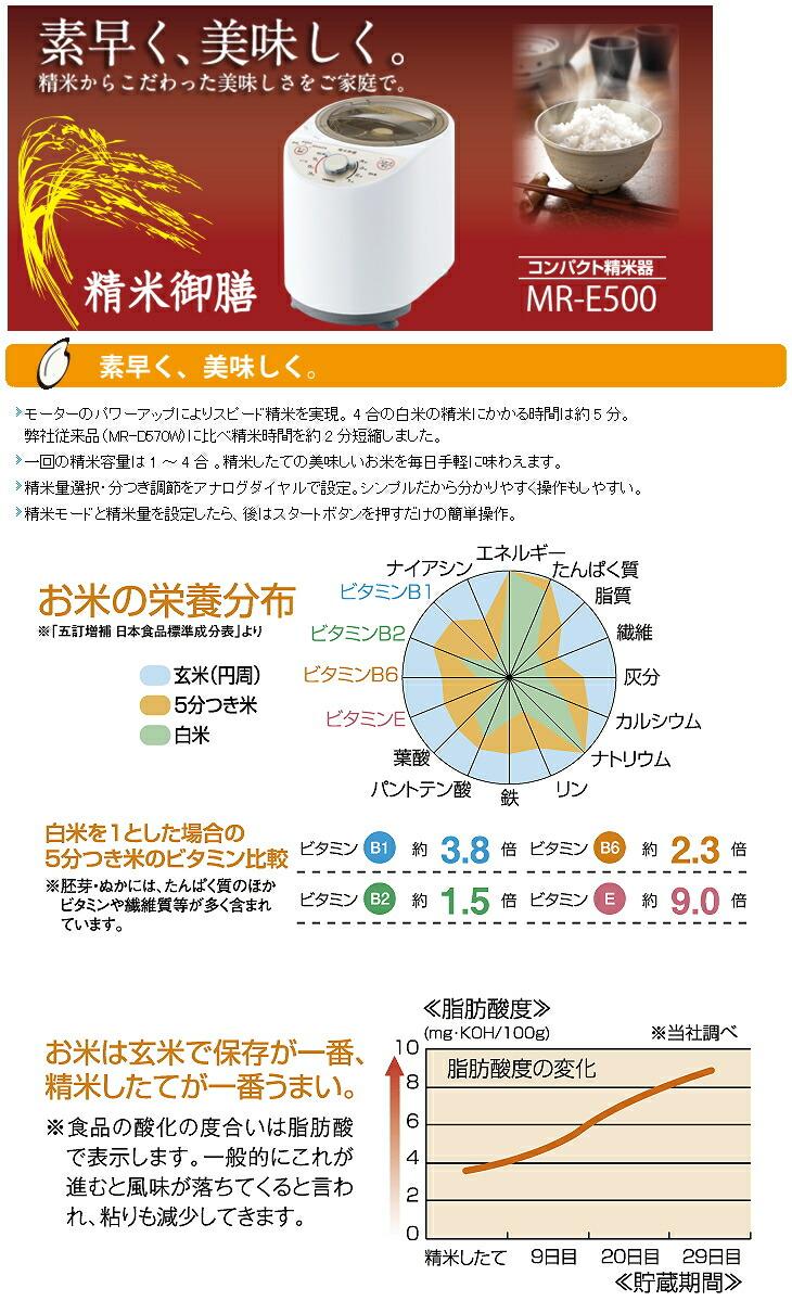ツインバード:コンパクト精米器 精米御膳/MR-E500W ホワイト