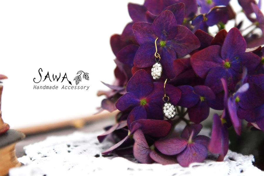 【SAWA サワ】淡水パール×樹脂ビーズのレジン ピアス / イヤリング