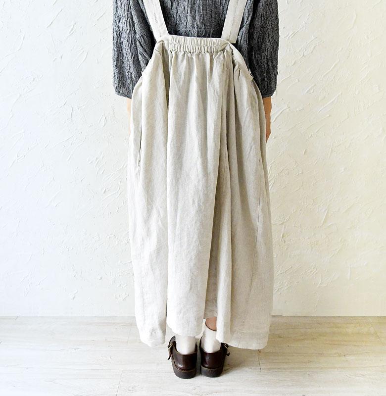 【ubasoku ウバソク】リネン ピンタック ジャンパースカート (ub0101)