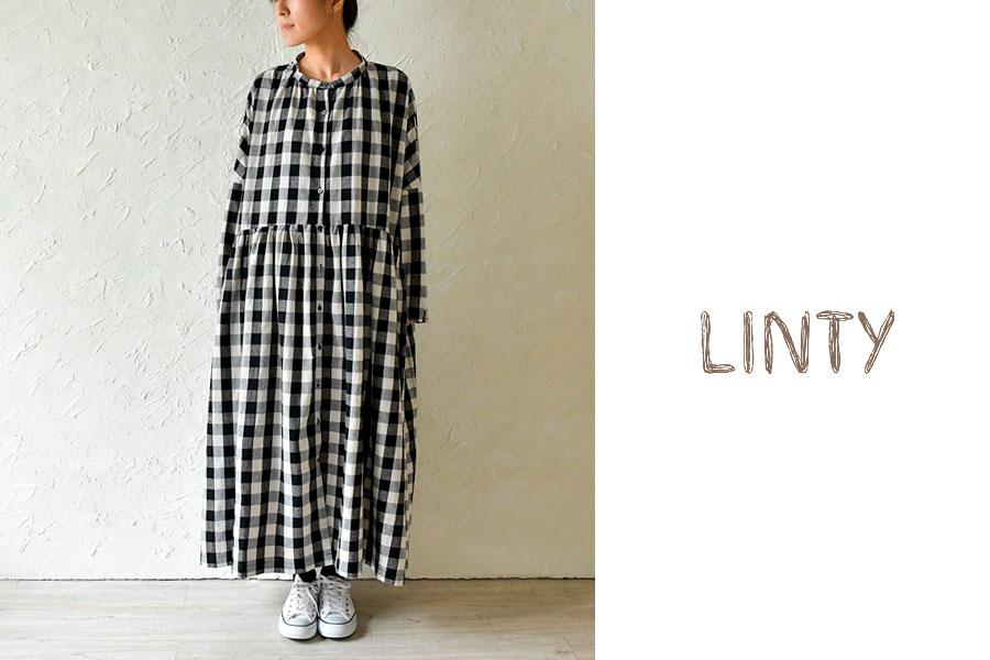 【LINTY リンティー】リネン スタンドカラー ワイド シャツ ワンピース