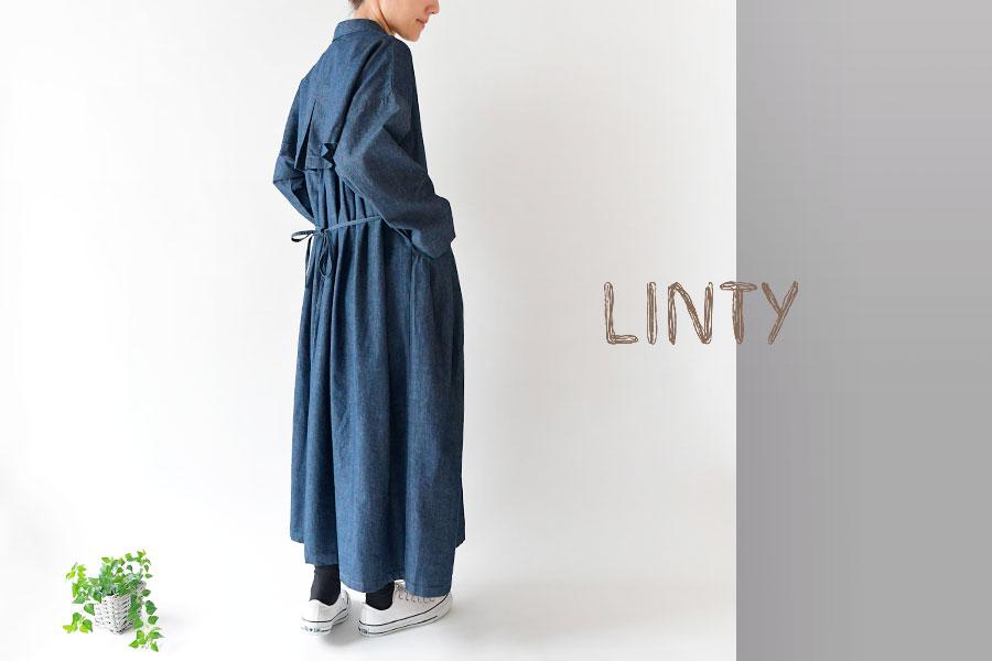 【LINTY リンティー】コットン リネン バック プリーツ コート ワンピース