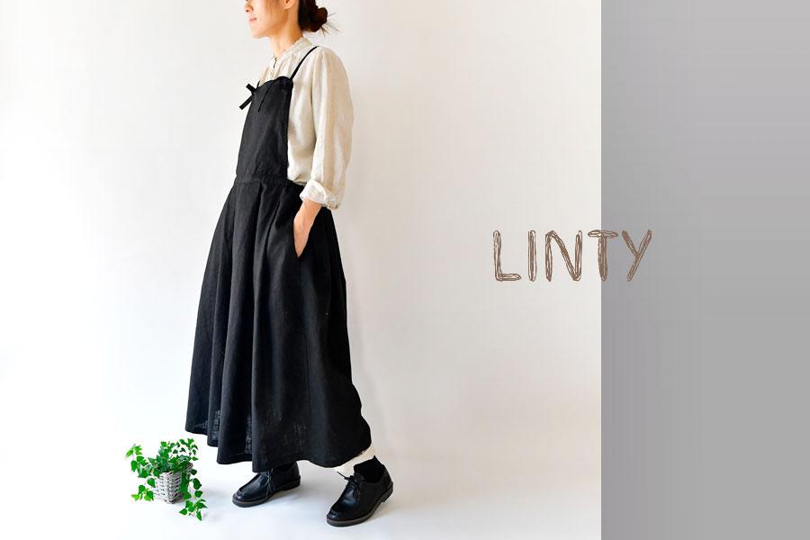 【LINTY リンティー】コットン リネン エプロン タック ワンピース