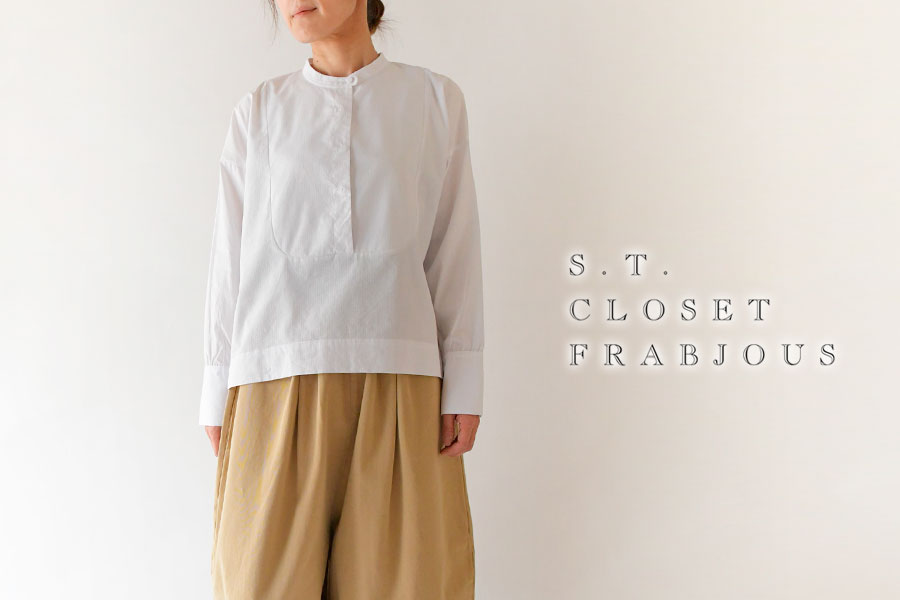 【s.t.closet frabjous エスティ・クローゼット】コットン レーヨン ドビー 織り ヨーク ブラウス
