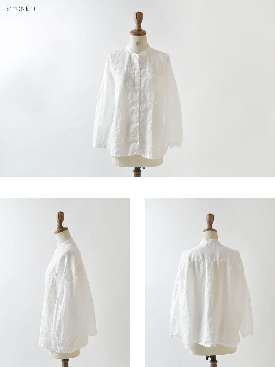 【SUN VALLEY サンバレー】フレンチリネン 日本製品染 スタンドカラー シャツ