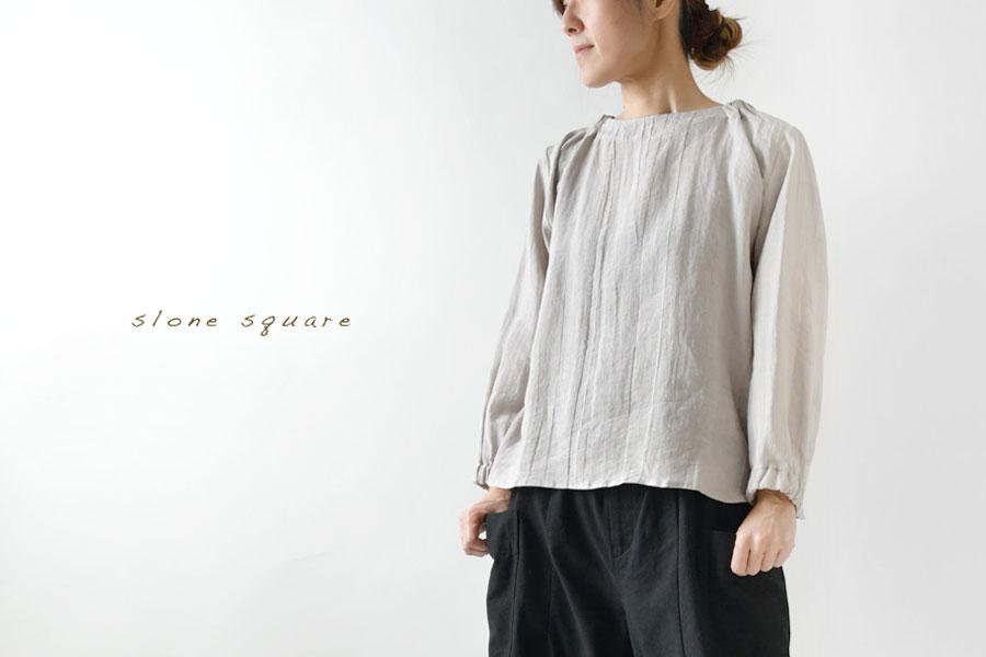 【slone square - スロンスクエア】バックネックゴム入り リネン プルオーバー ブラウス