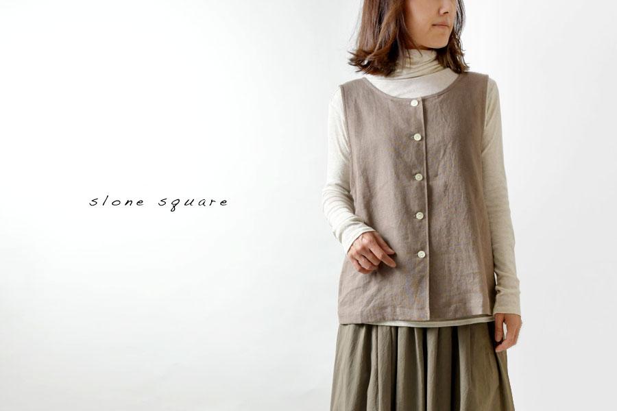 【slone square - スロンスクエア】リネン 2WAY ポケット付 ベスト