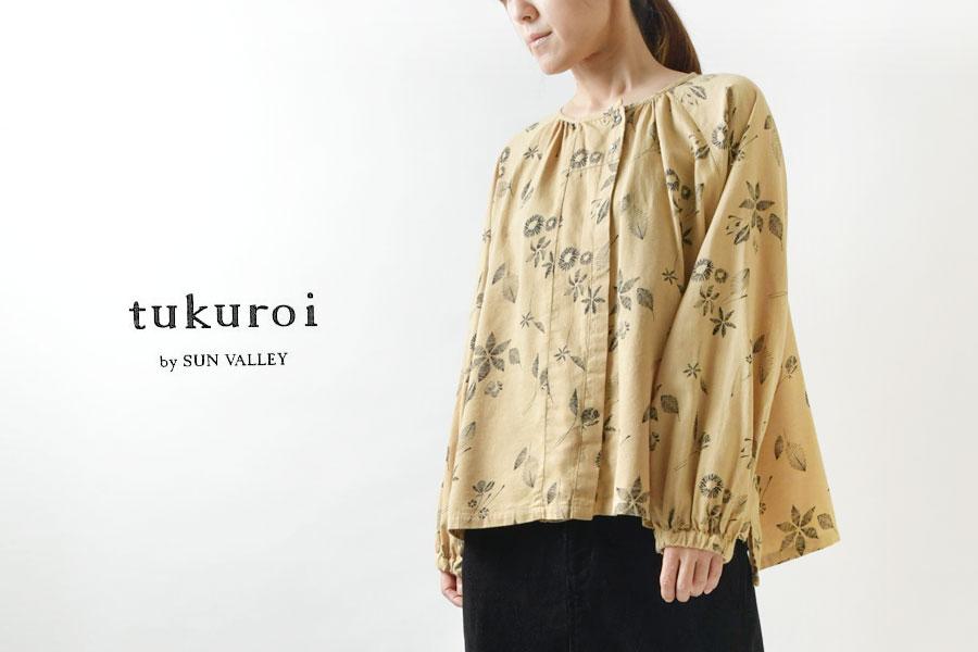 【tukuroi ツクロイ】綿 ウール 綾織 総柄 プリント ラグラン ブラウス