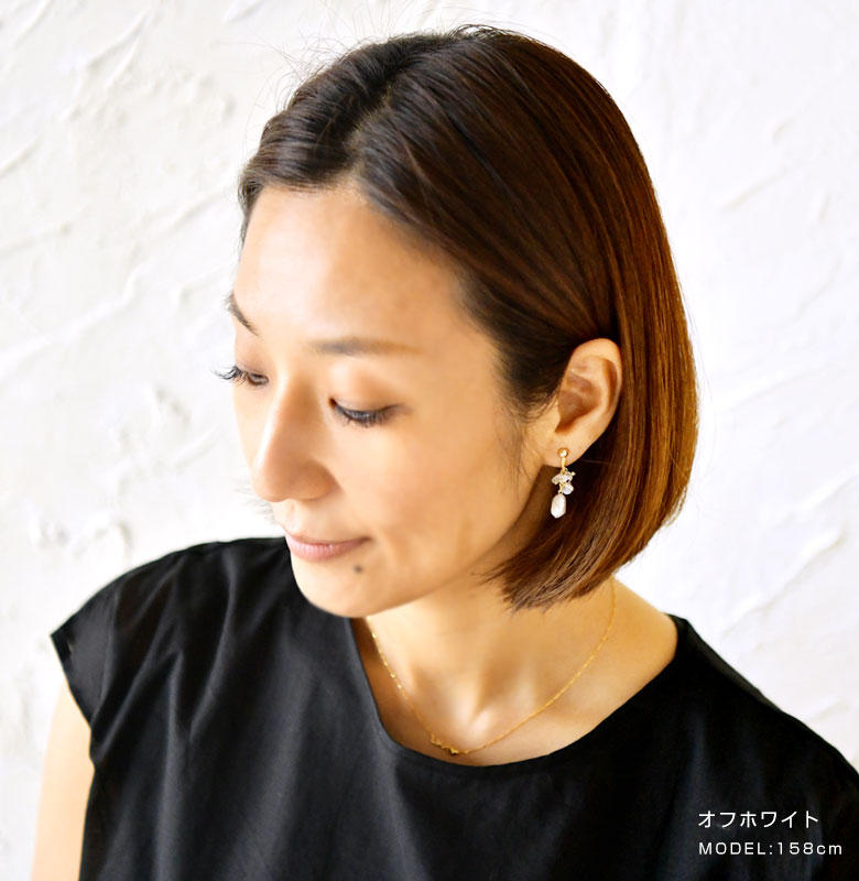 【SAWA サワ】淡水パール×天然石のイヤリング