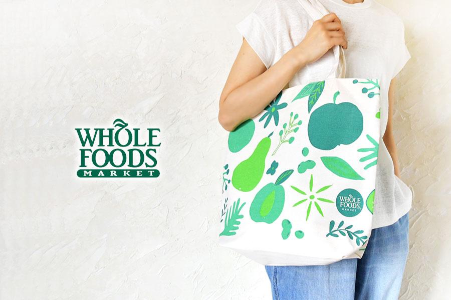 【WHOLE FOODS ホールフーズ】オーガニックコットン キャンバス トートバッグ