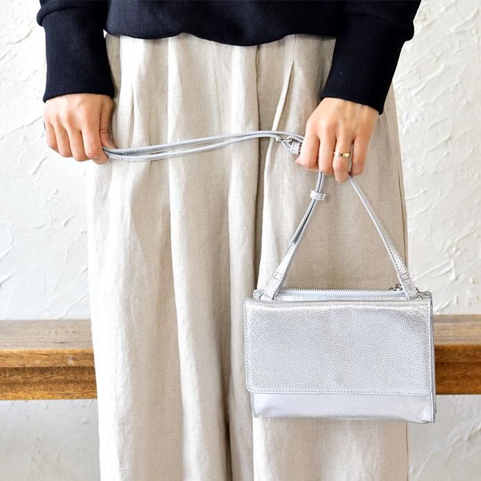 【Beaure ビュレ/ヴュレ】フラップ付き カウレザー 2WAY 3層 ミニ ショルダー バッグ
