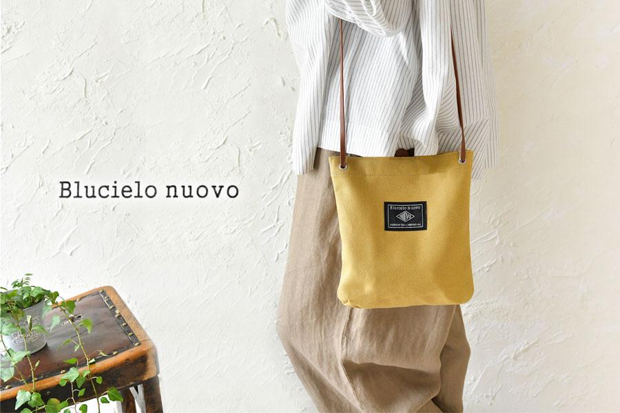【BLUCIELO nuovo ブルチェーロヌオーヴォ】コットン キャンバス ロゴプリント ミニショルダーバッグ