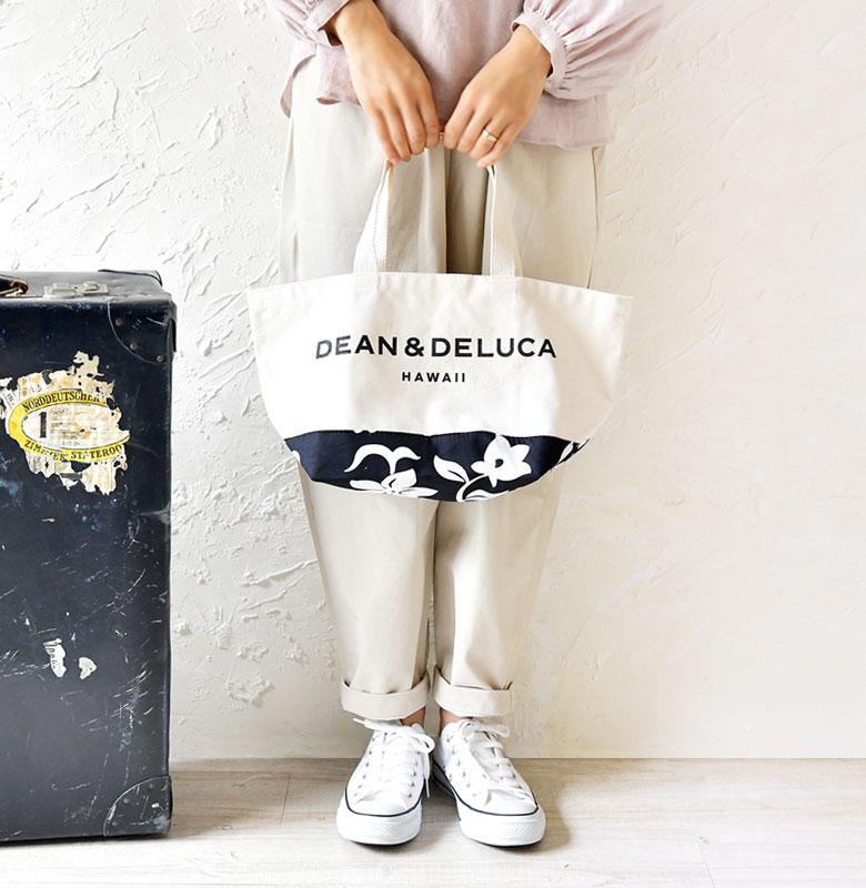 【DEAN & DELUCA ディーン・アンド・デルーカ】  ハイビスカス柄切り替え トート バッグ Sサイズ 【ハワイ限定】