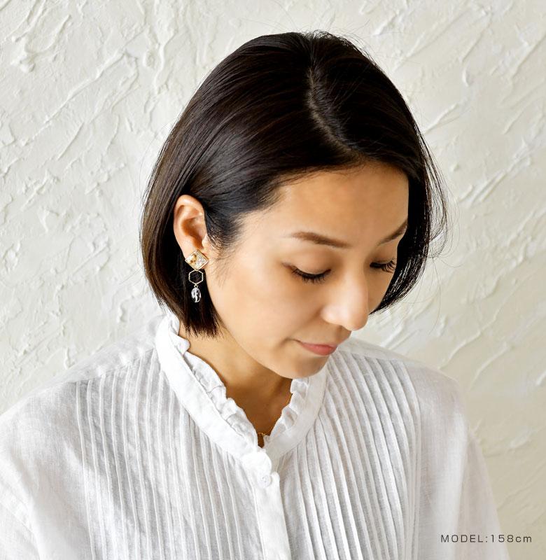 【SAWA サワ】ドライフラワー 淡水パール レジンモチーフ 2way ピアス