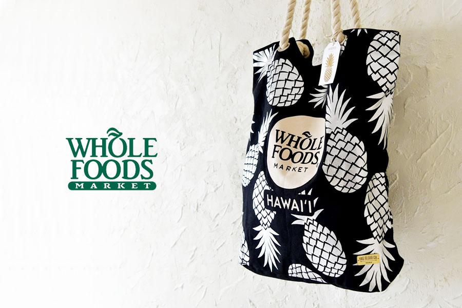【WHOLE FOODS ホールフーズ】TAG ALOHA コラボ トートバッグ 【ハワイ限定】シルバーパイナップル