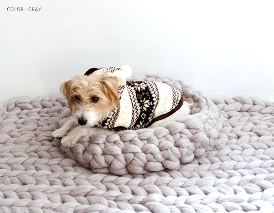 【mako マコ】ohhio Chunky Knit dog bed / チャンキー メリノウール ニット ペット ベッド Lサイズ