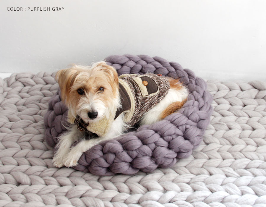 【mako マコ】ohhio Chunky Knit dog bed / チャンキー メリノウール ニット ペット ベッド Mサイズ