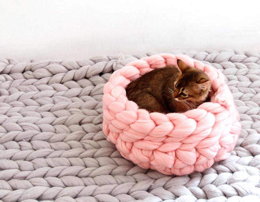 【mako マコ】ohhio Chunky Knit cat bed / チャンキー メリノウール ニット ペット ベッド Sサイズ