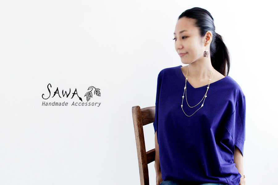 【SAWA サワ】淡水パール 2連 ロング ネックレス