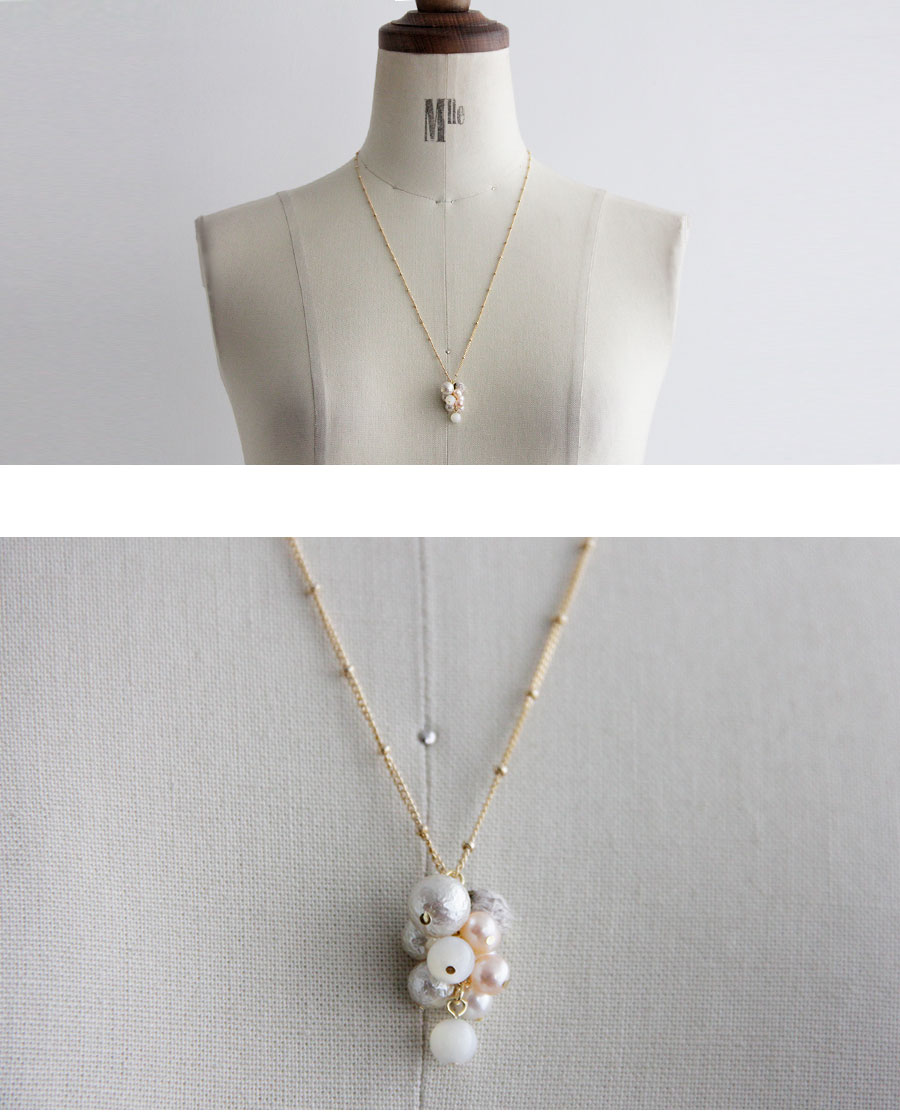 【SAWA サワ】ブドウ型 パール ロング ネックレス