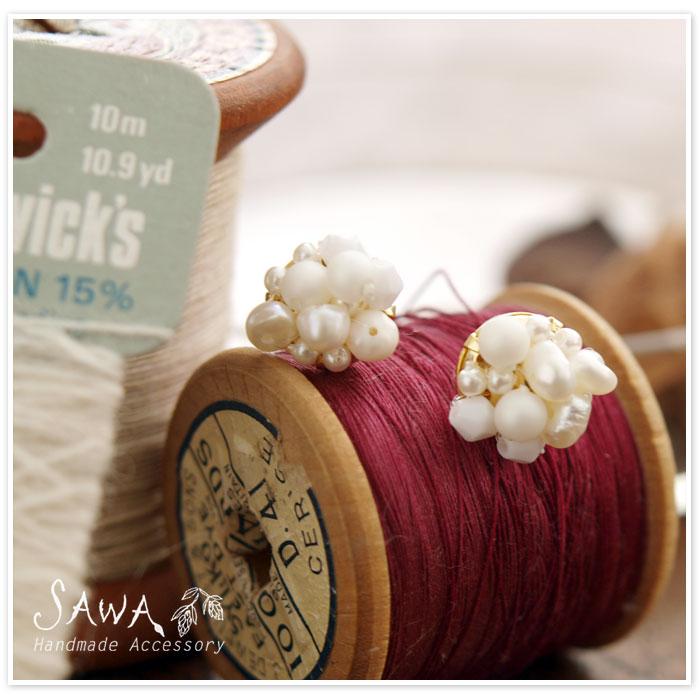 【SAWA サワ】淡水パール と 樹脂パール の ピアス/イヤリング