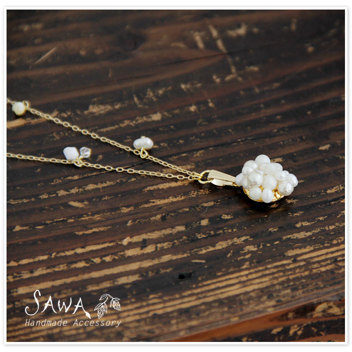 【SAWA サワ】淡水パール 樹脂パール マザーオブパール クリースパール 樹脂ビーズ の ネックレス