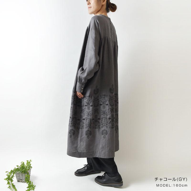 【bul bul バルバル】(サンバレー sun valley) リネン フォーク フラワー刺繍 ギャザー ワンピース(bk6015211)