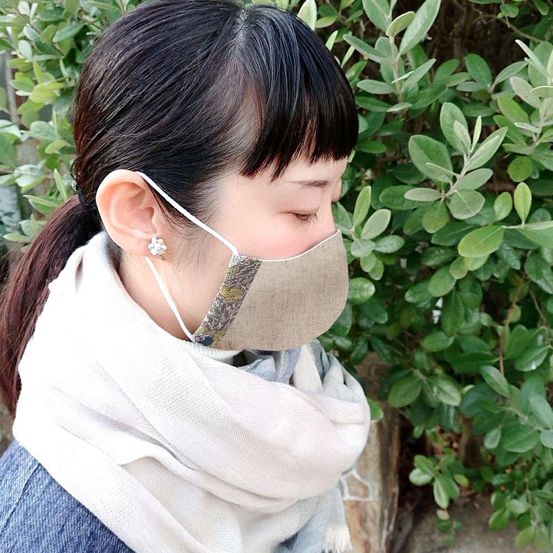【SAWA サワ】オリジナル柄切り替え 綿麻×綿 マスク + merinomi オリジナル柄生地ハンドミラーのセット (ms-mkmr-1)