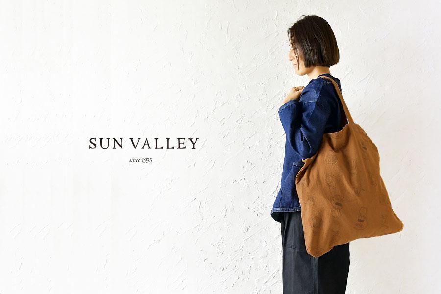 【SUN VALLEY サンバレー】コットン 平織り ピーチ起毛 総柄刺繍 エコバッグ /  トートバッグ