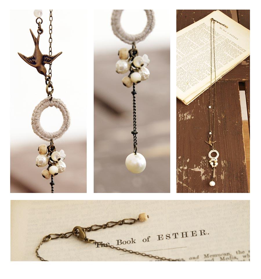 【SAWA サワ】天然石 ・ 淡水パール と ドーナツ編みモチーフと トリパーツ の ネックレス