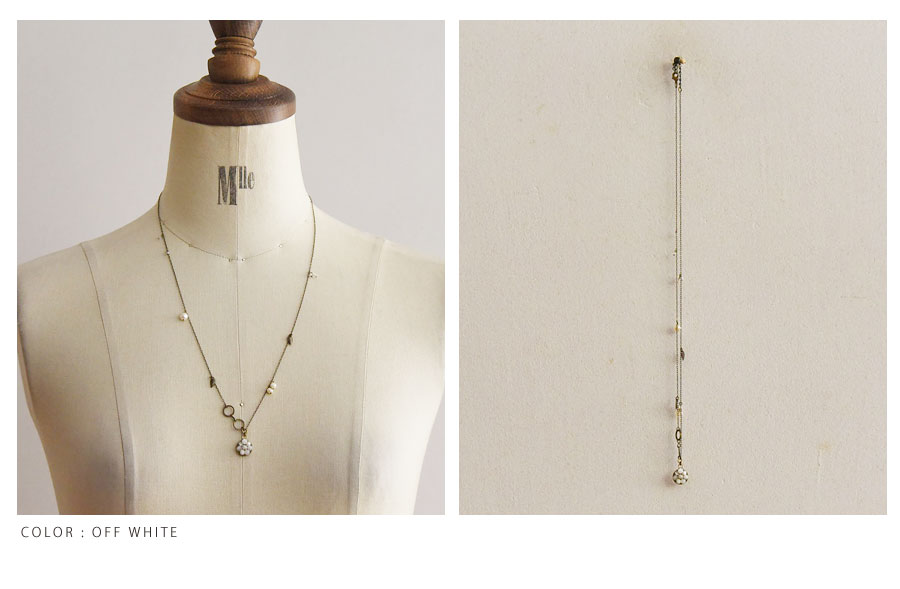【SAWA サワ】マザーオブパール と 葉モチーフ の ネックレス