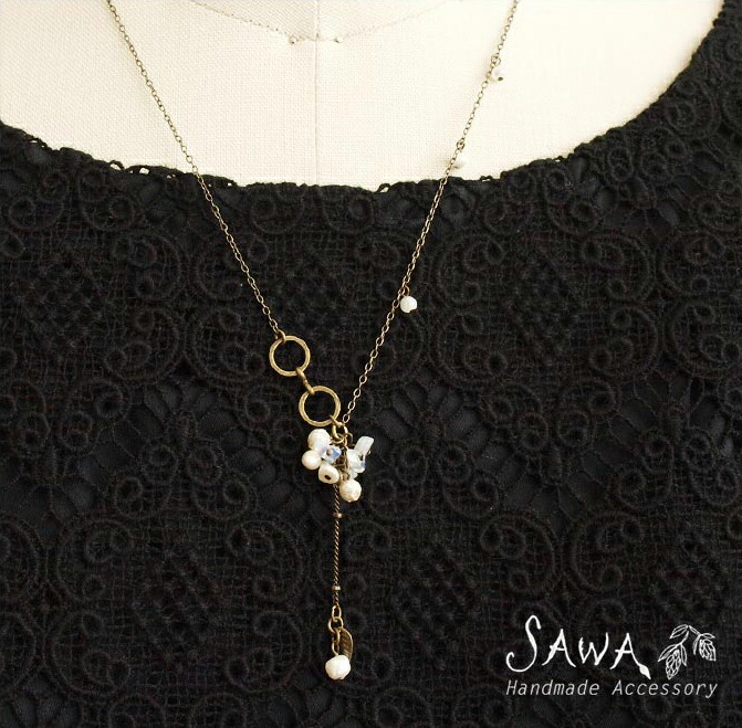 【SAWA サワ】淡水パール と 天然石 の ネックレス