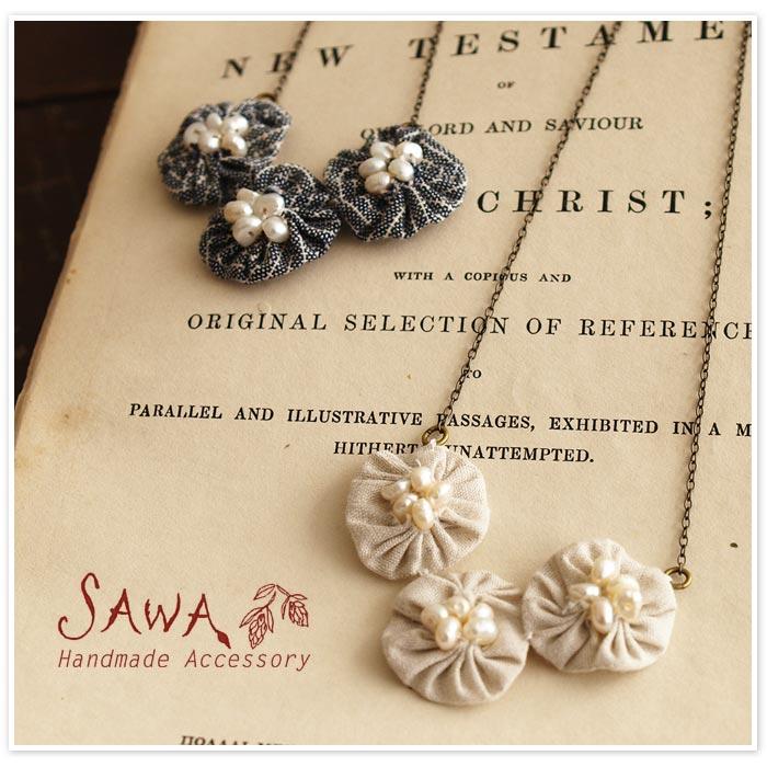 【SAWA サワ】 オーガニックコットン 丸モチーフとパールのネックレス・3つタイプ